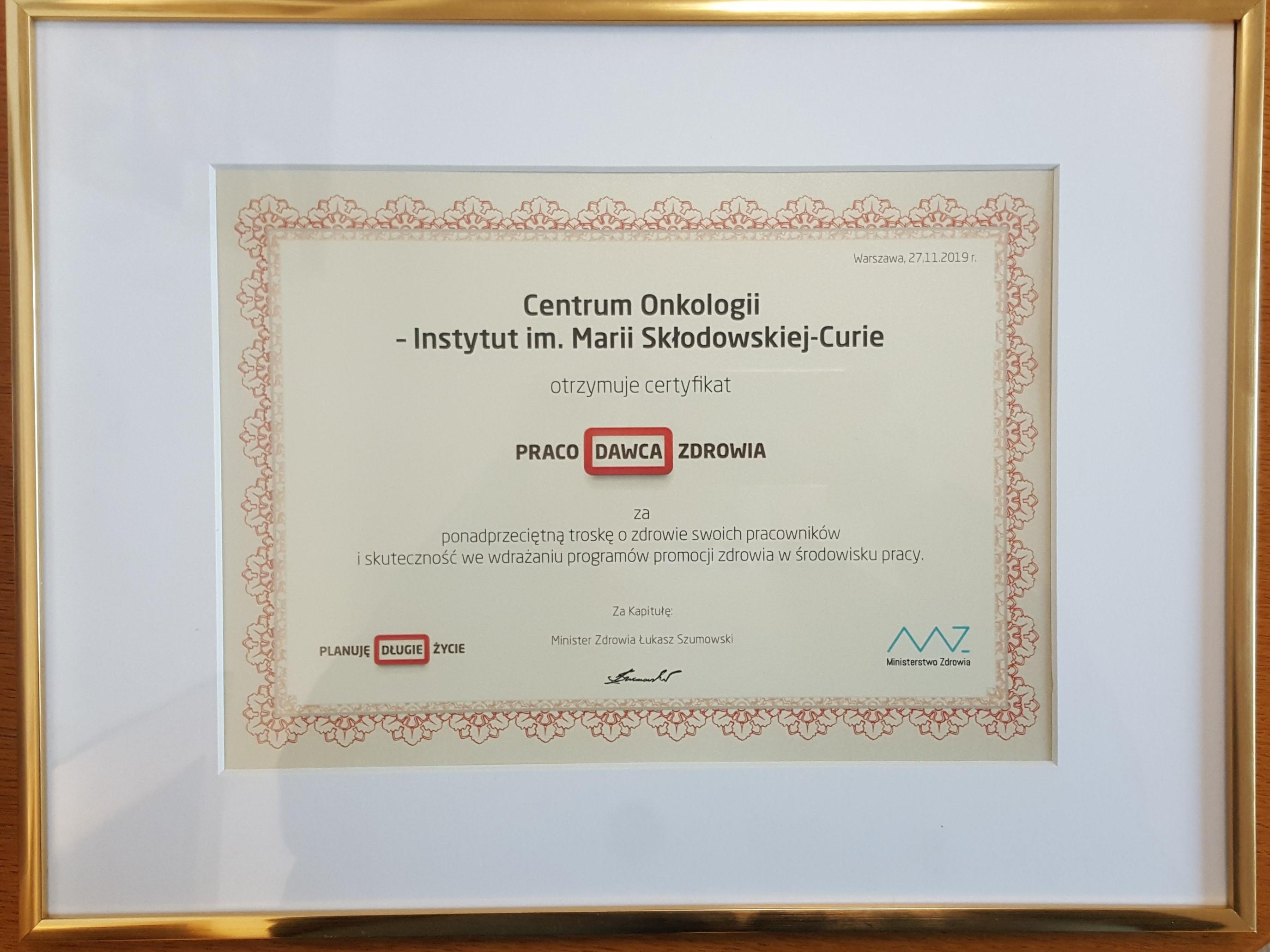 COI z certyfikatem Praco Dawca Zdrowia