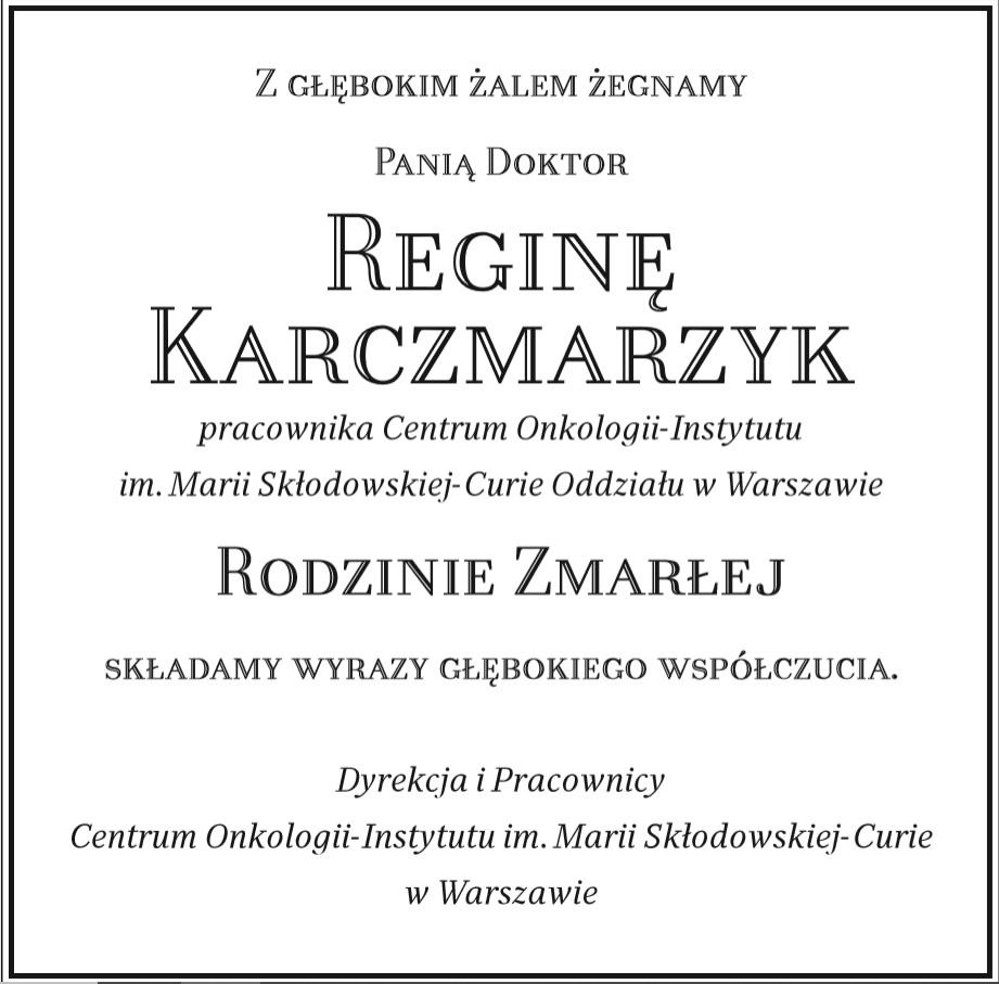 Zmarła Pani Doktor Regina Kaczmarzyk